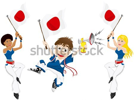 Black Girl Japan Soccer Fan with flag.  Stock photo © gubh83