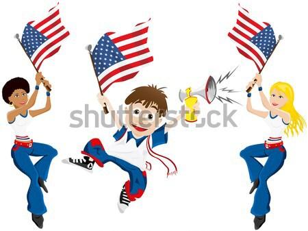 Foto stock: Preto · menina · Estados · Unidos · futebol · ventilador · bandeira