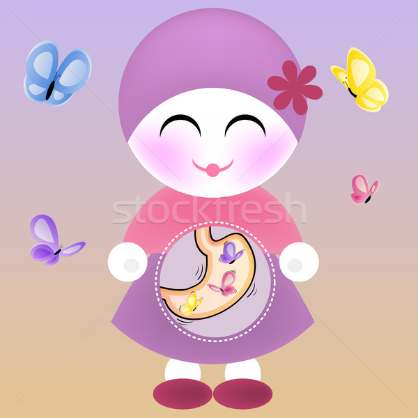 Girl with Butterflies in the Stomach Stock photo © gubh83