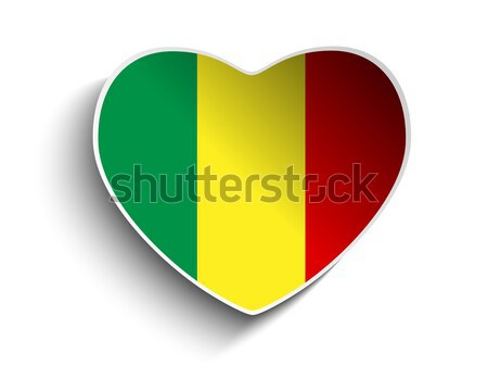 Mali Flag Heart Paper Sticker Stock photo © gubh83