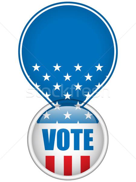 Stany Zjednoczone wyborów głosowania przycisk wektora niebieski Zdjęcia stock © gubh83