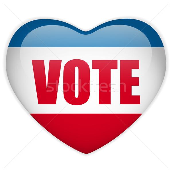 Egyesült Államok választás szavazás szív gomb vektor Stock fotó © gubh83