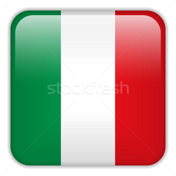Stock fotó: Olaszország · zászló · okostelefon · alkalmazás · tér · gombok