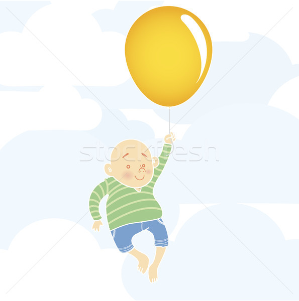 Chubby boy with balloon Stock photo © gubh83