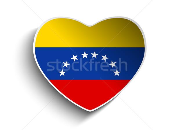 Venezuela zászló szív papír matrica vektor Stock fotó © gubh83