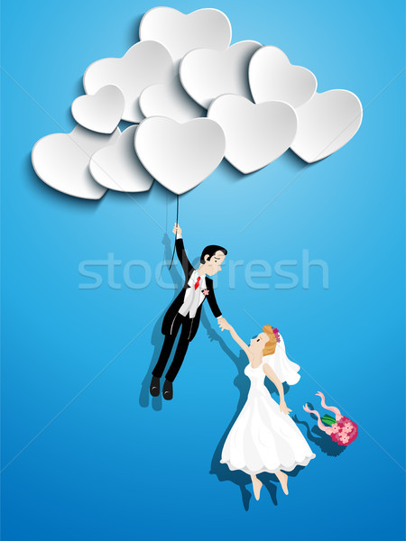 Just married couple flying with a heart shaped balloon Stock photo © gubh83