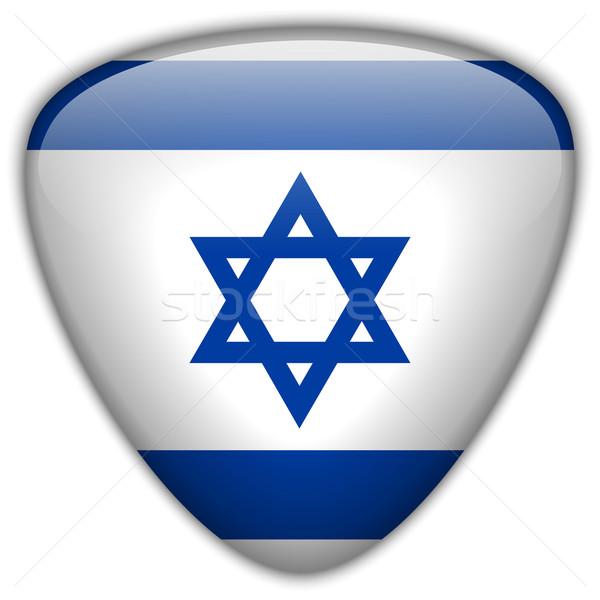 İsrail bayrak parlak düğme vektör cam Stok fotoğraf © gubh83