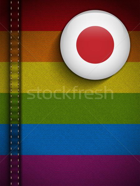 Stock fotó: Homoszexuális · zászló · gomb · farmer · szövet · textúra