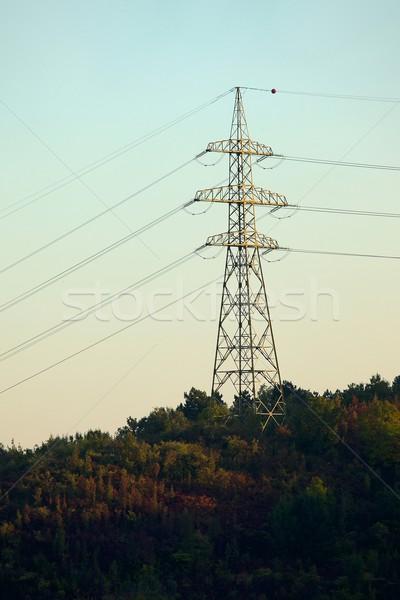Elétrico linha alta tensão céu quadro indústria Foto stock © Gudella