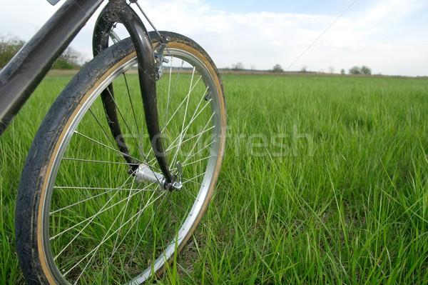 Bicicleta roda grama verde campo primavera esportes Foto stock © Gudella