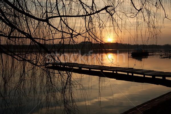 Lago pôr do sol silhuetas reflexões céu natureza Foto stock © Gudella