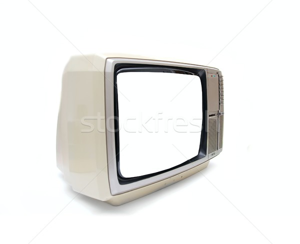 Stock photo: Vintage TV set with blank screen on white background