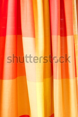 Cortina textura vermelho laranja projeto casa Foto stock © Gudella