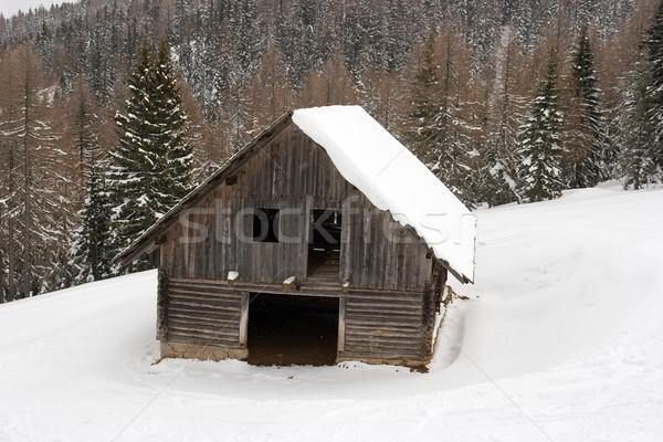 Celeiro neve coberto montanha paisagem Foto stock © Gudella