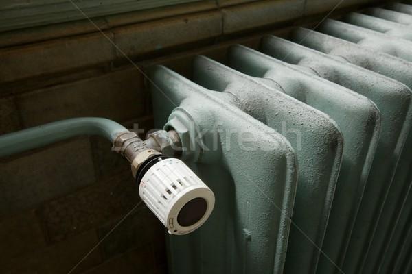 Fűtés közelkép radiátor régi épület ház épület Stock fotó © Gudella