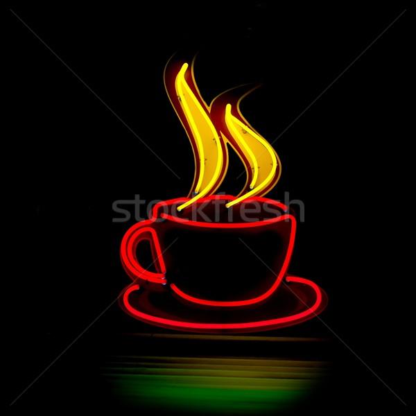 Café noite luz rua vermelho Foto stock © Gudella
