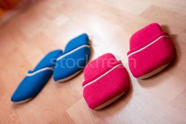 Slippers Rood Blauw vloer huis licht Stockfoto © Gudella