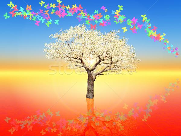 Cseresznyevirág illusztráció tavasz fa természet tájkép Stock fotó © guffoto