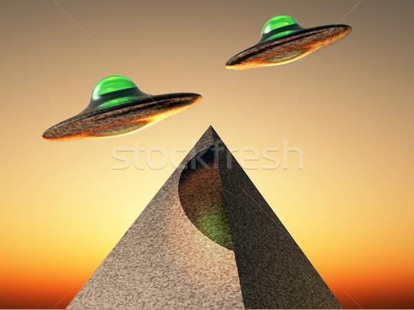 UFOの 飛行 ピラミッド 空 スペース 船 ストックフォト © guffoto