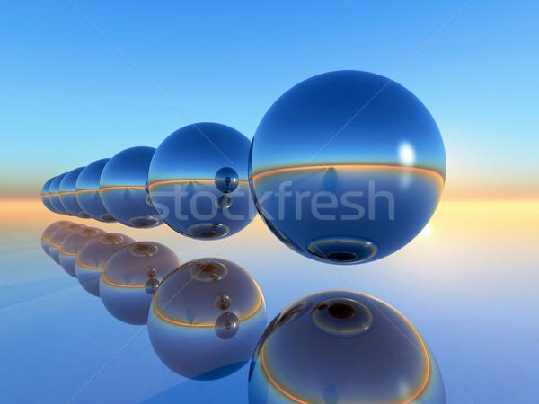 Terjedelem gömb 3D renderelt kép absztrakt kék Stock fotó © guffoto