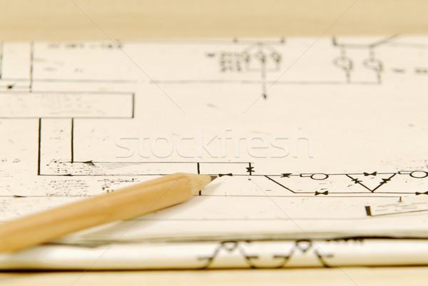 Kalem ahşap plan kâğıt doku teknoloji Stok fotoğraf © guffoto