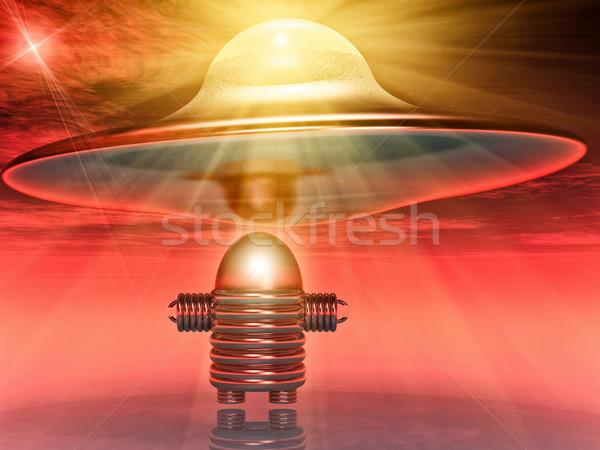 Repülés csészealj robot tudományos fantasztikum illusztráció űr Stock fotó © guffoto