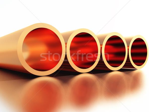 Miedź cztery rur budowy przemysłu czerwony Zdjęcia stock © guffoto