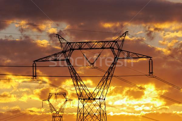 Nagyfeszültség távvezeték alkonyat technológia ipar kábel Stock fotó © guffoto