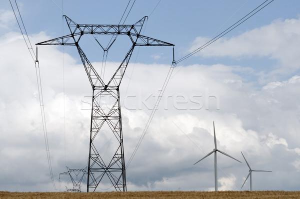 Energia nagyfeszültség szélturbina elektromosság környezet vonal Stock fotó © guffoto