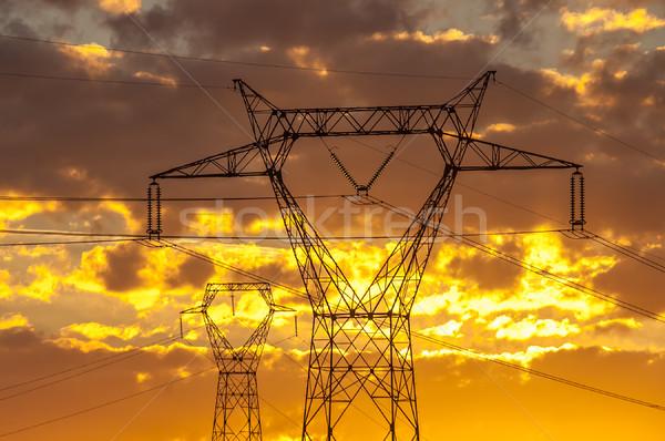 Haute tension technologie fond métal câble énergie Photo stock © guffoto