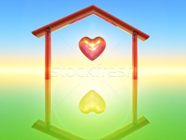 Otthon zöld egyedül tető izolált egy Stock fotó © guffoto