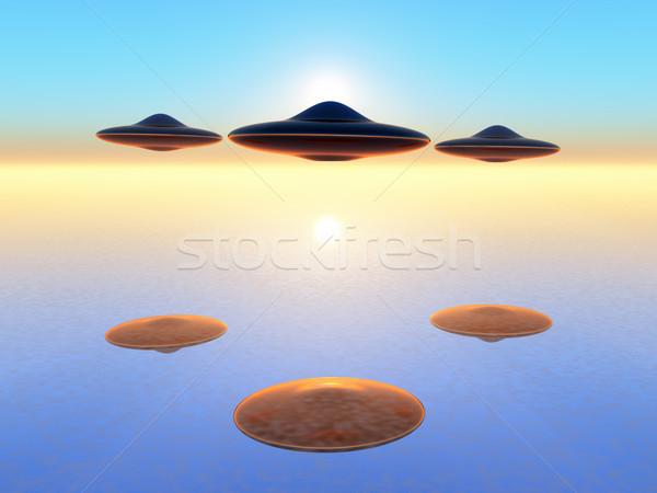 Ufo bilimkurgu örnek gökyüzü uzay gemi Stok fotoğraf © guffoto