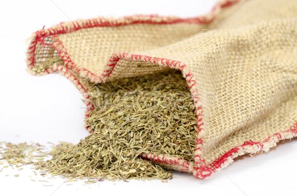 Gyógynövények zsákvászon táska fehér Stock fotó © guffoto