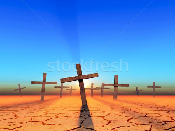 Apokalipszis temető sivatag napfelkelte égbolt fény Stock fotó © guffoto