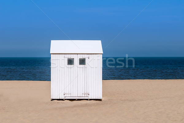 Photo stock: Plage · cabine · océan · bleu · sable · blanche