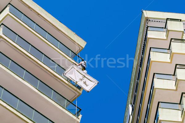 Riparazione altezza costruzione città blu Foto d'archivio © guffoto