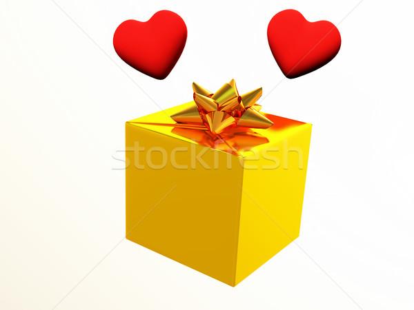 Ajándék szerelmespár szív ajándék szalag csomag Stock fotó © guffoto