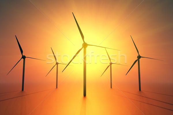 Zonne-energie industrie wind elektriciteit milieu zonne Stockfoto © guffoto