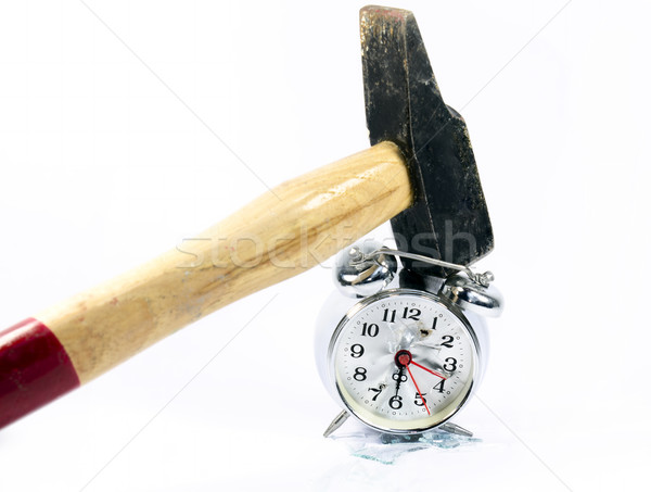 будильник разрушенный молота часы Смотреть сломанной Сток-фото © guffoto