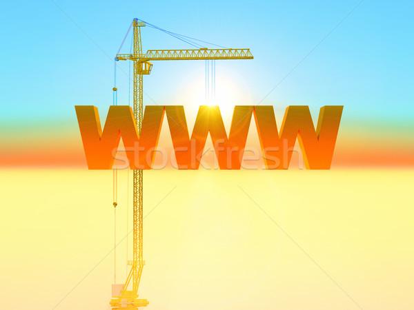 WWW illusztráció weboldal internet épület építkezés Stock fotó © guffoto