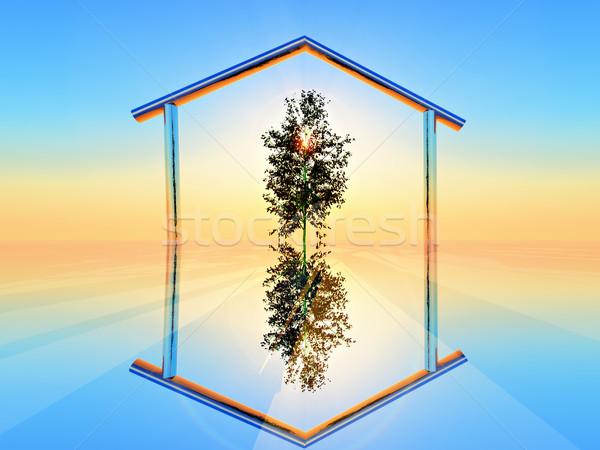 зеленый домой дерево внутри металлический форма Сток-фото © guffoto