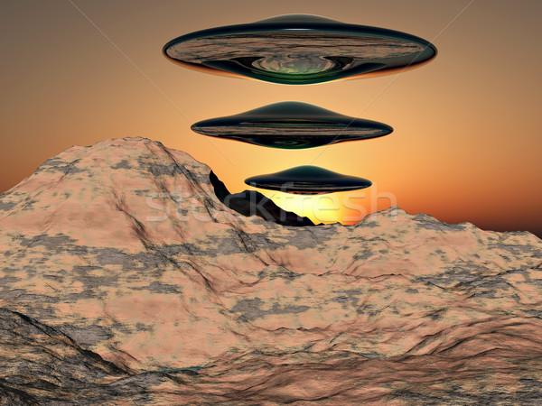 Idegen tudományos fantasztikum illusztráció űrhajó repülés hegyek Stock fotó © guffoto