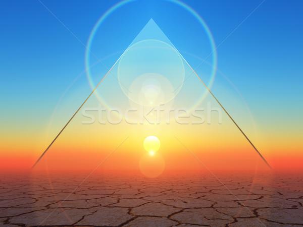 Energia átlátszó háromszög forma absztrakt naplemente Stock fotó © guffoto