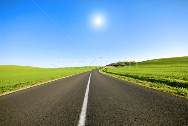Blanche ligne route français campagne ciel Photo stock © guffoto