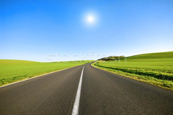 Bianco line strada francese campagna cielo Foto d'archivio © guffoto