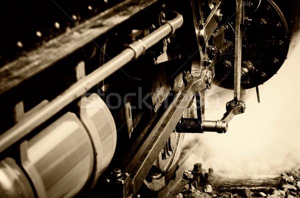 Gőzmozdony közelkép szépia színek fekete retro Stock fotó © guffoto