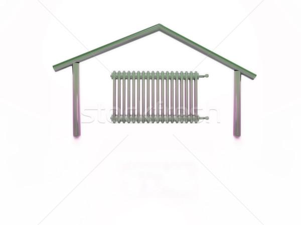 Maison radiateur à l'intérieur forme maison mur Photo stock © guffoto