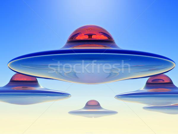 Visitatore fantascienza illustrazione battenti piattino cielo Foto d'archivio © guffoto