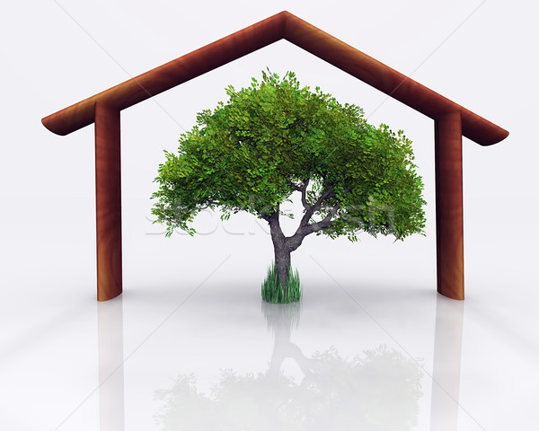 Fa ház fa illusztráció ökológiai építkezés Stock fotó © guffoto