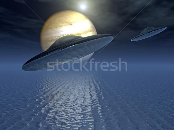 Tudományos fantasztikum repülés víz égbolt hajó tudomány Stock fotó © guffoto